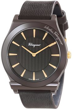 Salvatore Ferragamo Men's FQ3030013 1898 Brown Ion-Plated Coated Stainless Steel Leather Watch