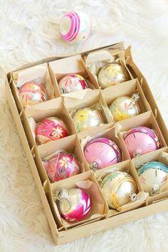 Vintage pastel Christmas ornaments