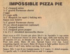 Newspaper Clipping For Impossible Pizza Pie Impossible Cheeseburger Pie Bisquick, Easy Cheeseburger Pie Recipe, Impossibly Easy Cheeseburger Pie, Impossible Pie Bisquick, Bisquick Recipes, Amish Recipes, Old Recipes, Cooking Recipes, Carbquik Recipes