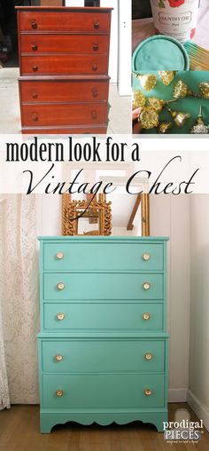 Vintage Chest Gets Modern Vibe with Paint and Knobs by Prodigal Pieces | www.prodigalpieces.com