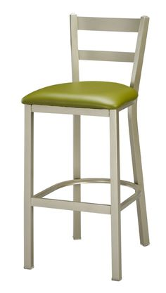 Double Bar Backed Steel Frame Stool w Upholstered Seat