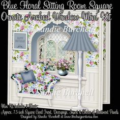 Blue Floral Sitting Room Square Ornate Arched Window Mini Kit : The Designer Twins ...where creativity encounters quality and value