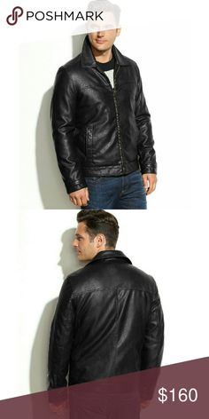 New! Tommy Hilfiger Men's Faux Leather Jacket NWT A sharp look for the modern man, this faux-leather jacket from Tommy Hilfiger features a classic cool style.  * Zip-front closure: lay-down collar  * Long sleeves, adjustable snap cuffs  * Welt pockets at waist; interior pockets  * Quilted lining. Medium weight  * Shell: polyurethane: lining: polyester. Wipe Clean * Retails for $200 Tommy Hilfiger  Jackets & Coats