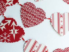 Scandinavian Garland made from red and creamy by PineconeShop, $10.00