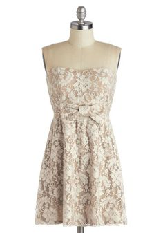 Stop and Say Chai Dress - Short, Tan, Tan / Cream, Bows, Lace, Party, A-line, Strapless, Good, Sweetheart, Mini