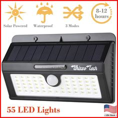 Garden Deck Waterproof Solar Wall Lights for Patio Yard Costech Super Bright 182 LED Motion Sensor Solar Lights with Wide Lighting Area; Adjustable Triple Dual Head Solar Lights Outdoor Driveway