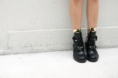 Balenciaga boots and gold ankle cuffs. #shoes #boots