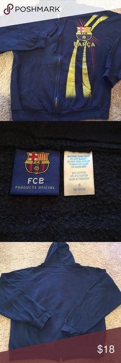 💚 FC Barcelona Blue Sweater Hoodie Unisex Worn 4-5 times. Unisex. FC Barcelona Sweaters