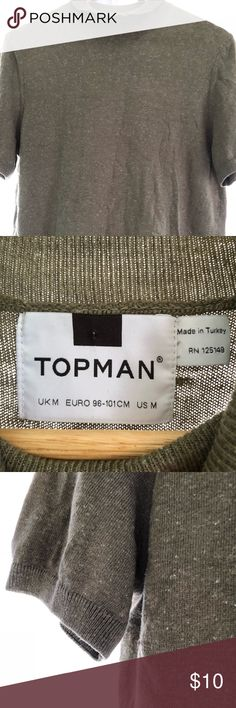 Topman Rollneck olive short sleeved sweater This role neck sweater is made a very light cotton, and is in the true vintage style like Cary Grant and the Hollywood men of yesteryear. It has fitted cuffs and a roll neck. Slim fit, size medium. Topman Sweaters Turtleneck