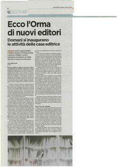 3 Ottobre 2012: e L'orma è anche su «l'Unità». Grazie Luca Sebastiani!