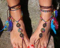 Rainbow MANDALA BAREFOOT SANDALS foot jewelry hippie sandals toe anklet beaded crochet barefoot tribal sandals festival feather yoga wedding