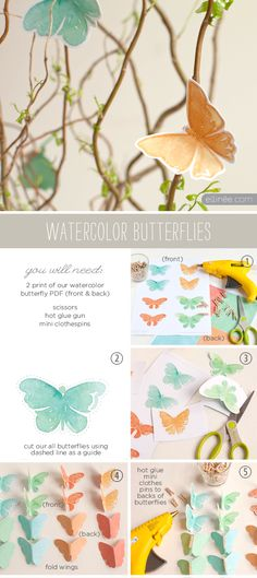 Free Watercolor Butterfly Spring Decor Printable