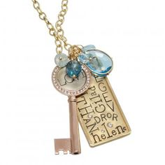 Charm Necklace with Channel Set Key & Personalized Tag @ heathermoorejewelry.com
