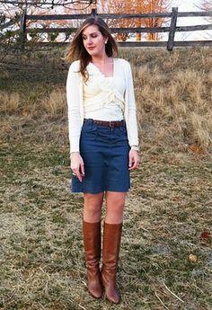 Denim shirt, leopard belt, mustard skirt, cognac boots | My Style ...