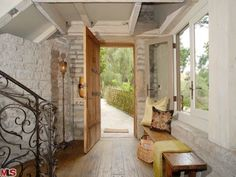 The bench in the entryway and the stair railing...love it!