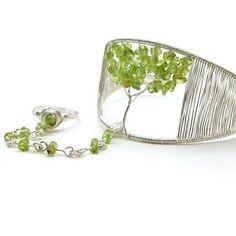 Tree of Life Slave Bracelet Ring Peridot Gemstone Silver Wire Cuff | BrainofJen - Jewelry on ArtFire