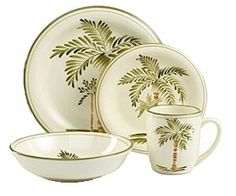 palm tree dishes | Palm Court by Gibson. For the cabin by the beach!  sc 1 st  Pinterest & This dinnerware set features a palm tree motif that is ideal for ...