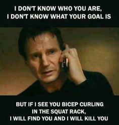 20 Gym Jokes To Get You Through Your Next Workout If I see you bicep curling in the squat rack, I will find you, and I will kill you. Fitness Studio Motivation, Gym Motivation, Fitness Goals, Women's Fitness, Morning Motivation, Wellness Fitness, Fitness Tracker, Workout Memes, Gym Memes