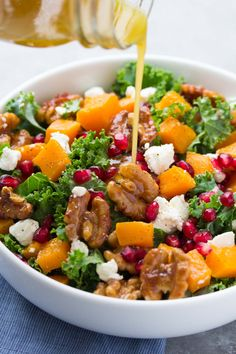 Butternut Squash and Pomegranate Kale Salad with Spiced Honey Walnuts - Kristine's Kitchen