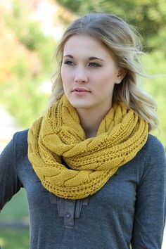 Mustard Cable Knit Infinity Scarf #nanamacs