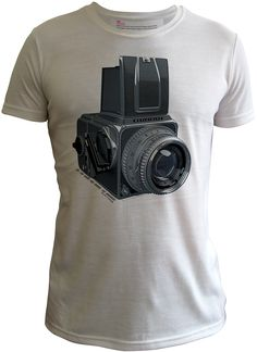 """The artwork:  This image of the Hasselblad 500C is a view of a 3D electronic model of a 500C Hasselblad, it is a more graphic treatment of the camera than the super real vectored image of the Classic Hasselblad shirt similarly """"drawn"""" by Yukio.  Yukio's file is reproduced at 720"""
