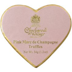 Charbonnel et Walker Pink Heart Marc De Champagne Truffles ($3.74) ❤ liked on Polyvore featuring fillers, food, decor, home and accessories