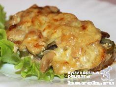Мясо, запеченное с грибами и солеными огурцами по-охотничьи