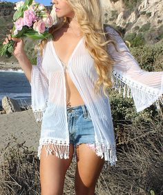White I Do Fringed Cover-Up - Plus Too #zulily #zulilyfinds