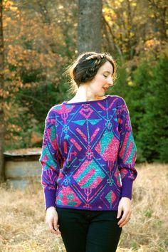 Vintage 80s Sweater// Geometric Design// Neon Aztec// by AstralBoutique, $28.00