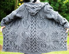 Hand gebreide vrouwen dikke kabel Aran Ierse visser trui vacht Cardigan Top hele wol S M L XL donker grijs