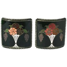 French Art Deco Enamel Shoe Buckles | From a collection of rare vintage shoes at https://www.1stdibs.com/fashion/accessories/shoes/
