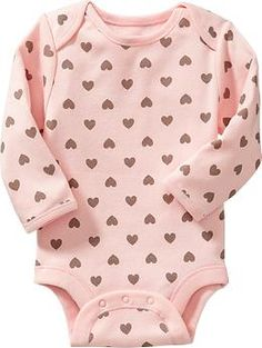 Old Navy - Long-Sleeve Bodysuits - Pink with hearts - Size - 3-6 months
