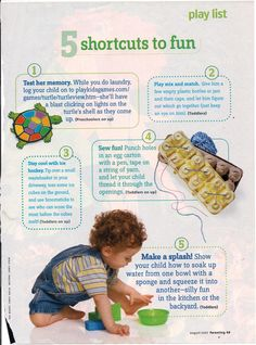 Fun activities with kids from Parenting Magazine August 2007