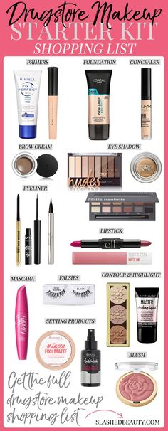 Komplette Einkaufsliste für Drogerie-Make-up Create a makeup collection full of the best products. Here is a complete drugstore makeup shopping list to help you grab the best of the best. - Schönheit von Make-up Makeup Dupes, Makeup Eyeshadow, Makeup Brushes, Eyeliner, Best Drugstore Makeup, Makeup Remover, Makeup Geek, Highlighter Makeup, Contour Makeup