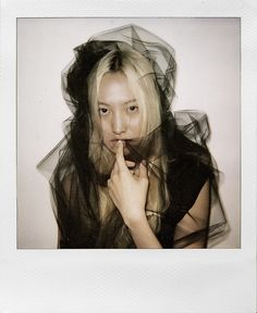 Daul Kim - bleached blonde and black tulle