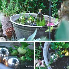 DIY für einen Mini-Teich. Wie du aus einer alten Zinkwanne, kleinen Teichpflanzen und ein bisschen Deko eine erfrischenden kleinen Teich für deinen Garten oder Balkon machen kannst. Mehr auf Craftyneighboursclub.com #miniteich #gartenideen #teichideen