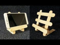 DIY Phone Stand Phone stand is the great way to watch content on your smartphone. If you're bored with the ordinary Phone stands, find DIY phone stand and make your own one Diy Popsicle Stick Crafts, Popsicle Sticks, Popsicle Stick Coasters, Diy Home Crafts, Easy Crafts, Crafts For Kids, Diy Phone Stand, Ice Cream Stick Craft, Mobile Holder
