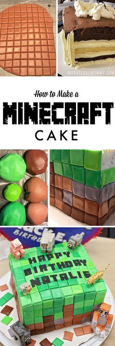 Minecraft Cake Tutorial   DIY Minecraft Cake HOW TO