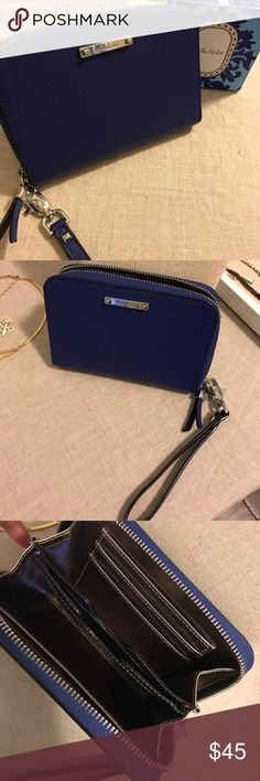 """Chelsea Tech Wallet - Cobalt Chelsea Tech Wallet in cobalt blue. 4""""x6""""x1.5""""  Three card slot and phone holder (iPhone 5s, or equivalent to 4.9""""x2.3"""") with wristlet band and silver hardware. Excellent condition used once. Stella & Dot Bags Wallets"""