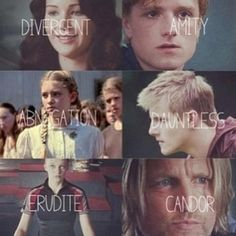 The factions of The Hunger Games characters! So cool! ~Divergent~ ~Insurgent~ ~Allegiant~