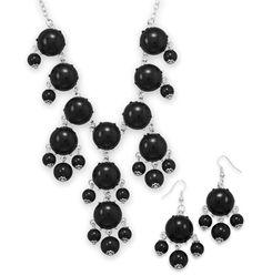 Silver Tone Black Bead Bubble Style Fashion Set