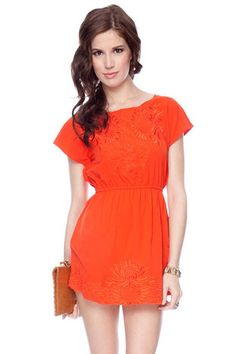 Lovin this                                    Embroidery Dress in Poppy $35 at www.tobi.com