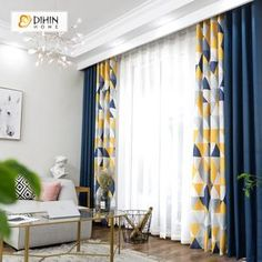 DIHIN HOME Neat Triangle Printed Blackout Grommet Window Curtain for Living Room 1 Panel curtain dihin grommet home living neat panel printedblackout room triangle window Living Room Decor Curtains, Home Curtains, Living Room Windows, Curtain Ideas For Living Room, Large Window Curtains, L Living Room Ideas, Ideas For Curtains, Curtains With Sheers, How To Hang Curtains