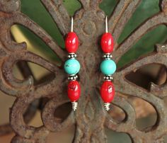 Turquoise Red Coral and Sterling Silver by BodaciousBaubleNBead, $9.25