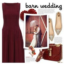 """""""Best Dressed Guest: Barn Weddings"""" by beebeely-look ❤ liked on Polyvore featuring River Island, pleated, sammydress, bestdressedguest, barnwedding and marsala"""