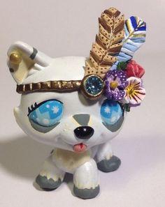 Littlest pet shop Dog * Pretty Tribal Wolf * LPS Custom Hand Painted OOAK #Hasbro