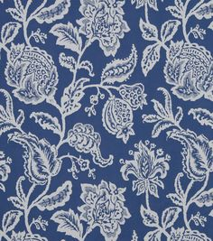 Upholstery Fabric-Robert Allen Jacobean Toss Indigo Love this see this on a Chair or pillows