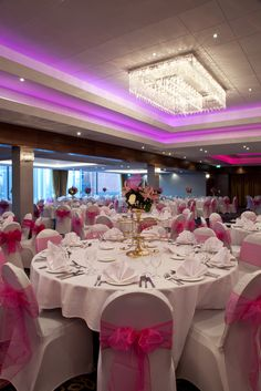 Kolarz Bespoke Crystal Light In The Holiday Inn Banqueting Suite With Led Highlight Colour Around