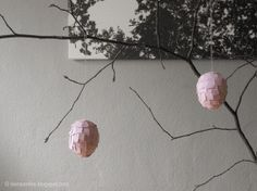 The Raumfee: DIY torn paper covered hanging egg decorations