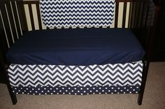 A personal favorite from my Etsy shop https://www.etsy.com/listing/224983103/navy-chevron-crib-skirt-4-sided